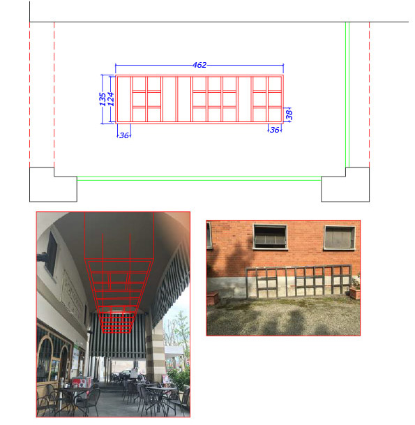 recupero griglia metallica e inserimento portico per verde verticale