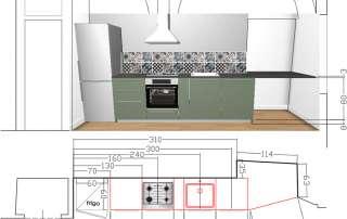 autocad nuova cucina su misura e top in nicchia