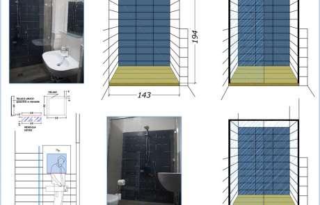 autocad-nuovo specchio e box doccia in nicchia- realizzazione su misura