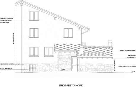 autocad-prospetto di progetto ristrutturazione casa Aosta