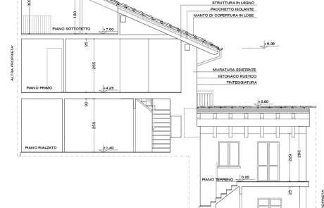autocad-sezione di progetto ristrutturazione casa Aosta