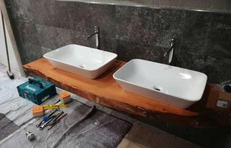 progetto bagno top su misura e lavabi d'appoggio